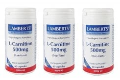 3x LAMBERTS L-Carnitine 500MG NEW HIGHER STRENGTH, 3x 60 caps