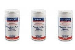 3x LAMBERTS Vitamin C Time 1000MG with Bioflavonoids, 3x 60 tabs
