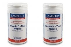 2x LAMBERTS Vitamin C Time Release 1000MG με Bioflavonoids , 2x 60 tabs