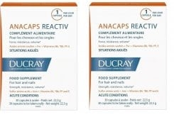 2 x Ducray Anacaps Reactiv PROMO -50% στο 2ο προϊον Συμπλήρωμα Διατροφής κατά της αντιδραστικής Τριχόπτωσης, 2 x 30 caps