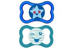 Mam Air Smile (275S) Ορθοδοντική Πιπίλα από Φυσικό Latex, για βρέφη 16m+, 2 τεμάχια - Μπλε