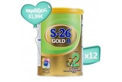 Πακέτο Προσφοράς 12 x Wyeth S26 ΙΙ Gold Βρεφικό Γάλα από τον 6ο μήνα, 12 x 400 gr