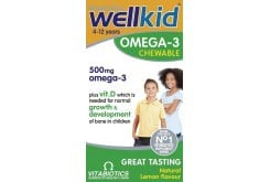 Vitabiotics Wellkid Omega 3 Συμπλήρωμα Διατροφής με Ωμέγα 3 για Παιδιά, από 4-12 Ετών, με Γεύση Λεμόνι, 60 chew. tabs