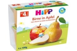 Hipp Hypoallergenic Organic Fruit Cream with Apple & Pear, 4 x 100gr