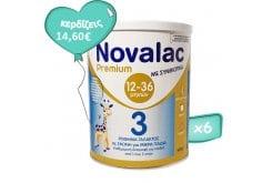 Πακέτο Προσφοράς 6 x Novalac Premium 3 Γάλα Σε Σκόνη Για Βρέφη 12-36 Μηνών Με Συμβιοτικά, 6 x 400gr