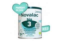 Πακέτο Προσφοράς 12 x Novalac Bio 3 Βιολογικό Ρόφημα Γάλακτος σε Σκόνη για Μικρά Παιδιά από 1 ως 3 ετών, 12 x 400g