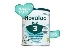6x Novalac Bio Pack 3 Organic Milk Powder for Toddlers from 1 to 3 Years, 6 x 400g