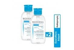 2 x Bioderma Hydrabio H20 Καθαριστικό & Ενυδατικό Διάλυμα σε Μορφή Νερού με Aquagenium με Αντίστροφη Αντλία, 2 x 500ml
