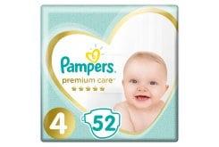 Pampers Premium Care Jumbo Pack No.4 (Maxi) 8-14 kg Βρεφικές Πάνες, 52 τεμάχια