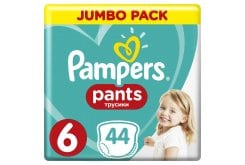 Pampers Pants Jumbo Pack No.6 (Extra Large) 15+ kg Βρεφικές Πάνες Βρακάκι, 44 τεμάχια