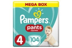 Pampers Pants Mega Pack No.4 (Maxi) 9-14 kg Βρεφικές Πάνες Βρακάκι, 104 τεμάχια