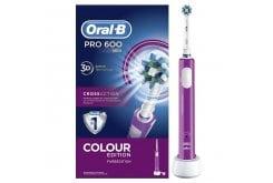 OralB Ηλεκτρική Οδοντόβουρτσα PRO 600 Cross Action - Colour Edition Ροζ 1 τμχ