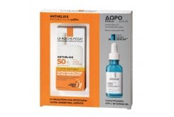 La Roche Posay Promo Pack με Anthelios Fluid Invisible Shaka Spf50+ Αντηλιακή Κρέμα Προσώπου, 50ml & ΔΩΡΟ Hyalu B5 Serum Αντιρυτιδικός & Επανορθωτικός Ορός Προσώπου, 10ml