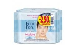 Pom Pon Eyes & Face Intensive Demake up & Cleansing Υγρά Μαντηλάκια Ντεμακιγιάζ Προσώπου Με Νερό Για Όλους Τους Τύπους Δέρματος (2x20) 40 τεμάχια