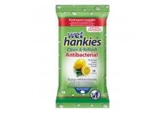 Wet Hankies Clean & Protect Antibacterial Lemon, Αντιβακτηριδιακά Μαντηλάκια με Αιθυλική Αλκοόλη με άρωμα λεμόνι, 15 τεμάχια