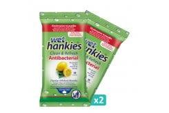 Wet Hankies Set Clean & Protect Antibacterial Lemon, Αντιβακτηριδιακά Μαντηλάκια με Αιθυλική Αλκοόλη με άρωμα λεμόνι, (2x15) 30 τεμάχια