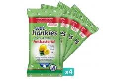 Wet Hankies Set Clean & Protect Antibacterial Lemon, Αντιβακτηριδιακά Μαντηλάκια με Αιθυλική Αλκοόλη με άρωμα λεμόνι, (4x15) 60 τεμάχια