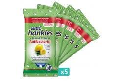 Wet Hankies Set Clean & Protect Antibacterial Lemon, Αντιβακτηριδιακά Μαντηλάκια με Αιθυλική Αλκοόλη με άρωμα λεμόνι, (5x15) 75 τεμάχια
