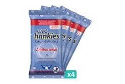 Wet Hankies Set Clean & Protect Antibacterial, Αντιβακτηριδιακά Μαντηλάκια με Αιθυλική Αλκοόλη, (4x15) 60 τεμάχια