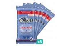 Wet Hankies Set Clean & Protect Antibacterial, Αντιβακτηριδιακά Μαντηλάκια με Αιθυλική Αλκοόλη, (5x15) 75 τεμάχια