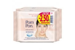 Pom Pon Eyes & Face Moisturising & Relaxing Υγρά Μαντηλάκια Ντεμακιγιάζ Προσώπου Με Υαλουρονικό Οξύ Για Όλους Τους Τύπους Δέρματος (2x20) 40 τεμάχια
