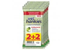 Wet Hankies Clean & Protect Antibacterial Green Apple (2+2 ΔΩΡΟ) Αντιβακτηριδιακά Μαντηλάκια με Αιθυλική Αλκοόλη & Άρωμα Πράσινο Μήλο, 60 τεμάχια (4 x 15)