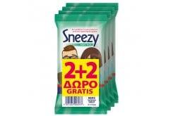 Wet Hankies Clean & Protect Antibacterial Sneezy (2+2 ΔΩΡΟ) Παιδικά Αντιβακτηριδιακά Μαντηλάκια με Αιθυλική Αλκοόλη, 48 τεμάχια (4 x 12)