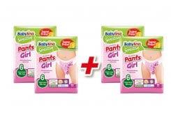 Babylino Promo (2+2 ΔΩΡΟ) Pants Girl Extra Large Νο.6 (16+ kg) Απορροφητικές & Πιστοποιημένα Φιλικές Παιδικές Πάνες Βρακάκι, 4 x 15 τεμάχια