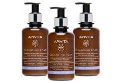 3 x Apivita Cleansing Foam Face & Eyes Κρεμώδης Αφρός Καθαρισμού για Πρόσωπο & Μάτια  με Ελιά & Λεβάντα, για Όλους τους Τύπους Δέρματος, 3 x 200ml