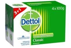 Dettol Classic 3+1 ΔΩΡΟ Αντιβακτηριδιακό Σαπούνι Κλασικό, 4 x 100gr