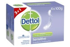 Dettol Sensitive 3+1 GIFT Antibacterial Soap Bar for Sensitive Skin, 4 x 100gr