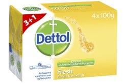 Dettol Fresh 3+1 ΔΩΡΟ Αντιβακτηριδιακό Σαπούνι, 4 x 100gr