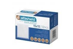 AlfaShield Αποστειρωμένη Γάζα 15cm x 15cm, 12τμχ