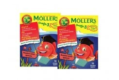 2 x Moller's Omega 3 Ζελεδάκια για Παιδιά με γεύση Φράουλα, 2 x 36gummies