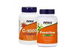 Now Pack For Enhancement Of Immune & Colds With Vit C 1000 mg, 100 Tabs & Feverfew 400 mg, 100caps