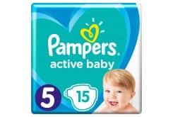 Pampers Active Baby Πάνες Carry Pack Μέγεθος 5 (11-16 kg), 15 Πάνες