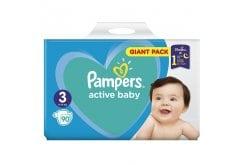 Pampers Active Baby Πάνες Giant Pack Μέγεθος 3 (6-10 kg), 90 Πάνες