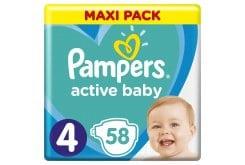 Pampers Active Baby Πάνες Maxi Pack Μέγεθος 4 (9-14 kg), 58 Πάνες