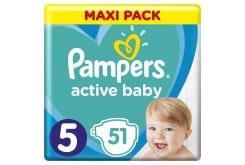 Pampers Active Baby Πάνες Maxi Pack Μέγεθος 5 (11-16 kg), 51 Πάνες