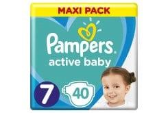 Pampers Active Baby Πάνες Maxi Pack Μέγεθος 7 (15+ kg), 40 Πάνες