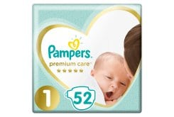 Pampers Premium Care Newborn No.1 (2-5kg) Βρεφικές Πάνες, 52 τεμάχια