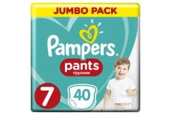 Pampers Pants Jumbo Pack No.7 (Extra Large) 17+ kg Βρεφικές Πάνες Βρακάκι, 40 τεμάχια