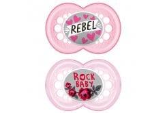 Mam Rock 'n Roll Ορθοδοντική Πιπίλα Σιλικόνης 16m+, 2 τεμάχια - Ροζ