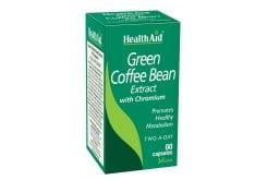 Health Aid Green Coffee Bean Extract with Chromium, Αγνό εκχύλισμα πράσινου καφέ με ευεργετική δράση στην αύξηση του μεταβολίσμου ενώ παραλλήλα λειτούργει & ως αντιοξειδωτικό ενάντια στις ελεύθερες ρίζες & στο οξειδωτικό στρες,60 tabs