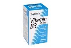 Health Aid Vitamin B3 (Niacin) 250mg, Χρήσιμη για την παραγωγή ενέργειας από την τροφή, στην ακμή και στη διατήρηση σωστών επιπέδων χοληστερόλης (HDL-LDL), 90 tabs