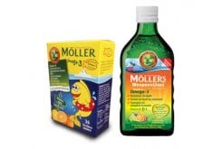 Moller's Cod Liver Oil in Tutti Frutti in liquid form with Fruit flavor, 250ml & TOGETHER WITH Moller's Gummies with Omega 3 for Kids, with Orange-Lemon Flavor, 36 gummies