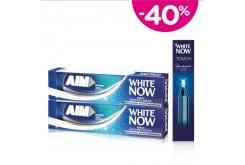 2x Aim White Now Οδοντόκρεμα για Άμεσα Λευκότερα Δόντια, 75ml & ΜΑΖΙ Aim White Now Touch Στύλο Λεύκανσης, 1.95ml