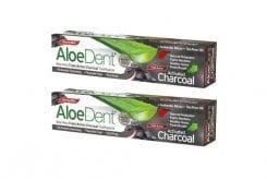 2 x Optima AloeDent Triple Action Activated Charcoal -50% ΣΤΗ 2η ΣΥΣΚΕΥΑΣΙΑ Οδοντόκρεμα Ενεργού Άνθρακα, 2 x 100ml