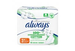 Always Cotton Protection Size 1 Normal Σερβιέτες, 12 τεμάχια