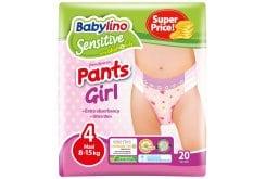 Babylino Pants Girls Maxi Νο.4 (8-15 kg) Απορροφητικές & Πιστοποιημένα Φιλικές Παιδικές Πάνες Βρακάκι, 20τεμάχια
